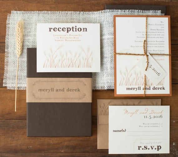 """Rustic Burlap Boxed Wedding Invitations with Wheat Stalk, Copper, Brown, Ivory """"Wheat Stalk Boxed Invite"""" Deposit - NEW LOWER PRICE!"""