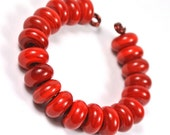 Red Handmade Lampwork Glass Spacers - 20 pieces