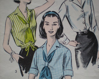 1950s Blouse with Scarf and Drawstring Waist Option Advance Sewing Pattern 8654, Size 18, Bust 38, Uncut