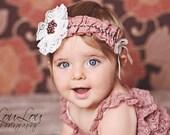 TEA ROSE Dusty Pink Ruffle & Ivory Lace Rhinestones Headband  and Petti Romper 2 pc Set Photography Prop