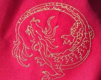 Gold Asian Dragon on Dark Red Towel