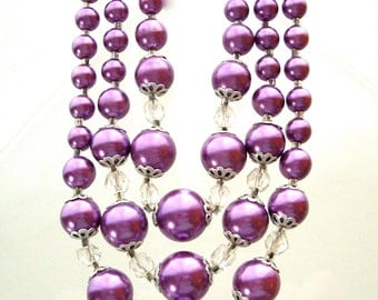 Vintage Three Strand Purple Beaded Necklace Clear and Silver Accents