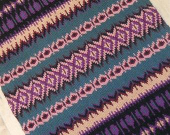 E638 Boundweave Rug, Lavender Stripe Floor or Wall Hanging, Zen Meditation Rug