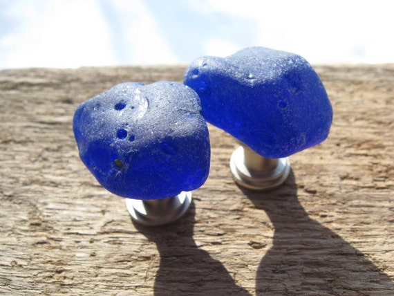 BLUE SLAG Beach Glass Cabinet Knobs Sea Glass Cabinet Knobs Drawer Pulls