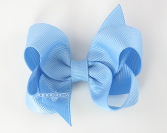 Light Blue Hair Bow 3 Inch Boutique Hair Bow - Baby Toddler Girl - Solid Color Hair Clip - Baby Blue