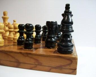 Vintage Chess Set Vintage Wooden Chess Set Hand Carved