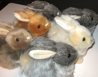 Realistic Rabbits for Sale With Music Box Movement Inside  - 6 Inch Plush Stuffed Animals  - Your Choice of Color and Song