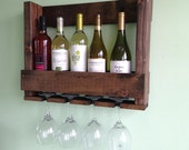 Rustic 5 Bottle Wine Rack With Glass Holder