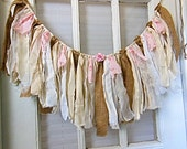 "burlap pink fabric banner, window swag,  shabby fringe banner, rag bunting, Rustic wedding, nursery decor, One of a Kind, 30"" X 11"""