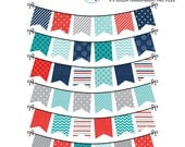 Bunting Clipart Set - patterned bunting clip art set, red bunting, blue bunting, july - personal use, small commercial use, instant download