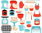 Vintage Baking Clipart Set - retro kitchen, red and blue clip art, oven, cake, baking - personal use, small commercial use, instant download