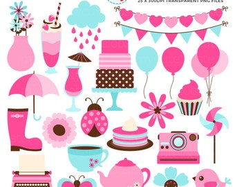 Pink & Mint Elements Clipart Set - balloons, bunting, cupcake, camera, tea, pinwheel - personal use, small commercial use, instant download
