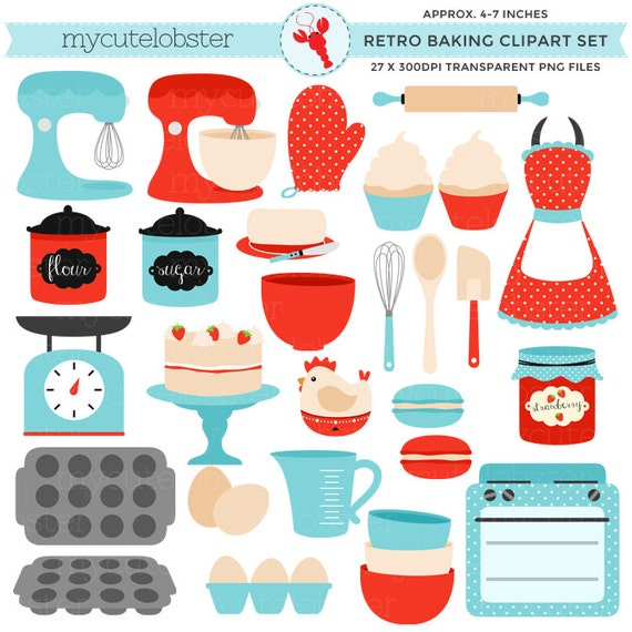 Retro Kitchen Illustration: Vintage Baking Clipart Set Retro Kitchen Red And Blue Clip