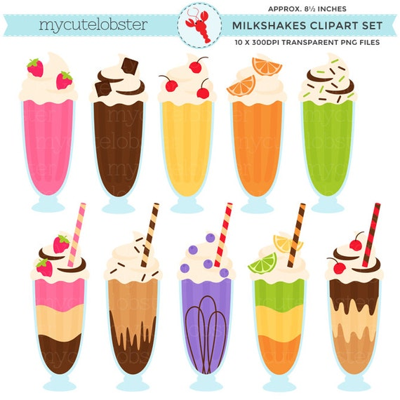 Milkshakes Clipart - clip art set, milkshakes, drinks, milkshake, sundaes, shake - personal use, small commercial use, instant download