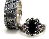 Gear Ring Engagement Set - Industrial Wedding Rings - Distressed Sterling Silver Navette Onyx Pink Sapphire