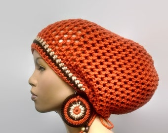 MADE TO ORDER Orange Brown and Tan/ Earth Tones/ Multicolor Crochet Slouch hat/dreadlock hat/ with drawstring and free crochet earrings