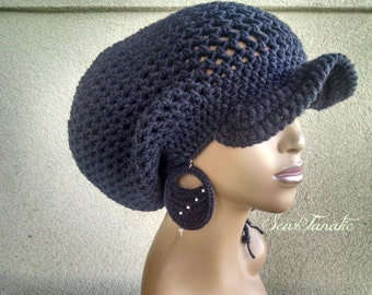 MADE TO ORDER Large Charcoal Gray Crochet Slouch hat/ Slouchy Beanie/ Dreadlock hat with drawstring and free crochet earrings