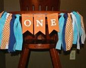 NEMO High Chair Birthday Banner - First Birthday - Rag Tie Garland - Cake Table - Photo Prop - Backdrop -Blue-Orange-Navy-White Banner