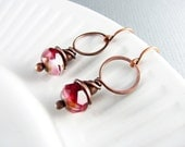 Wire Wrapped Earrings Copper Earrings Pink Earrings Wire Wrapped Jewelry Copper Jewelry Wire Hoop Earrings Copper Wire Wrap
