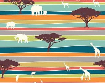The Plains Stripe Serengeti JayCyn Birch Organic Fabrics Wildlife Outdoors Elephants Blue All Natural