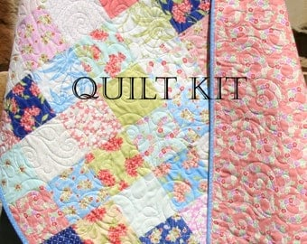 Last ones baby girl quilt kit bespoke blooms for moda fabrics last one baby girl quilt kit aloha girl fig tree quilts moda fabrics flowers coral blue yellow beginner simple patchwork diy do it yourself solutioingenieria Images