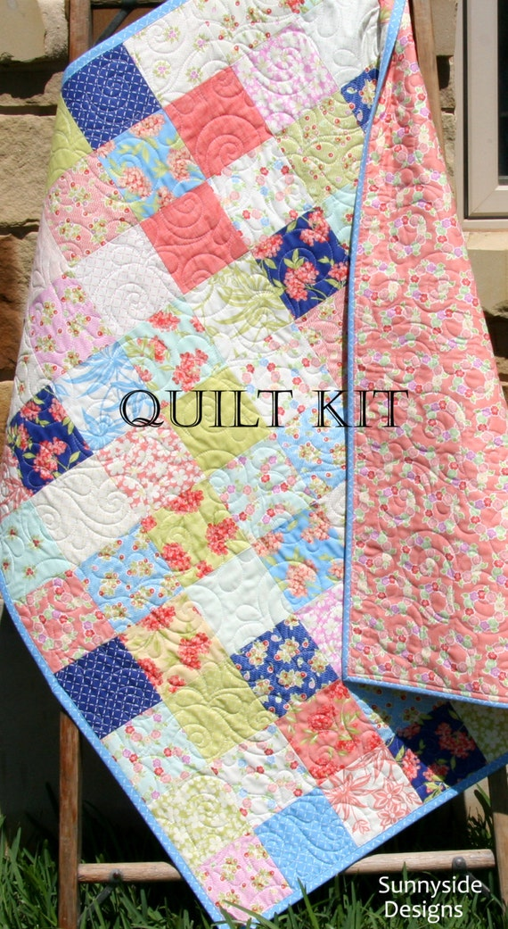 Last one baby girl quilt kit aloha girl fig tree quilts moda last one baby girl quilt kit aloha girl fig tree quilts moda fabrics flowers coral blue yellow beginner simple patchwork diy do it yourself from solutioingenieria
