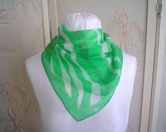 Vera Sheer Scarf with Green and White Stripes Square Vintage Scarf