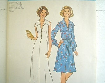 Flowing 1970s Dress Pattern Simplicity 6883 Flared Maxi Dress  Uncut Pattern Bust 36-38