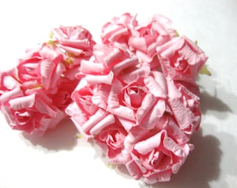 Pink Mulberry Paper Curled Roses Flowers Large - 3 bunches