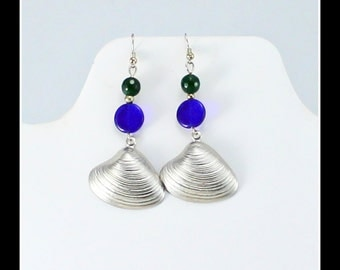 Green and Blue Earrings with Shell Dangles.  Feminine Jewelry.  Green and Blue Gift.