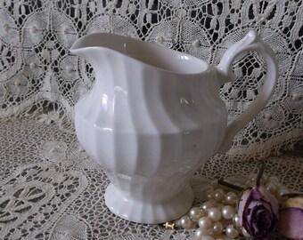 French Country Cottage, Vintage White ceramic creamer, ornate pitcher, small Myott England
