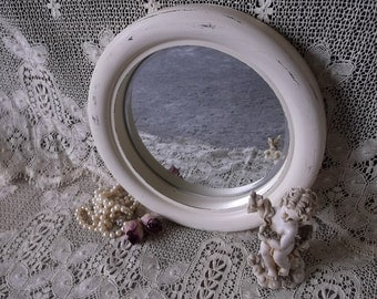 Shabby Cottage Porthole mirror, wood, shabby white, repurposed frame