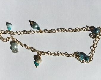 Ankle Bracelet, Blue, Teal Pearl, Larimar, blue Glass, Lemon Quartz. Gold Jewelry, Lilyb444
