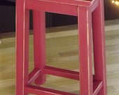 Reclaimed wood/ farmhouse/ Primitive/ distressed/ red/ counter stool