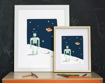 Nursery Art Print - Robot in Space