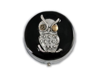 Round Metal Pill Box Robot Owl Inlaid in Hand Painted Black Onyx Enamel Pill Case Mechanical Owl with Gear and Cog with Personalized Options