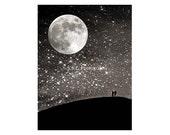 "Night Photo. starry sky. Moon art. ""Silhouettes Under the Stars""   Stars. Black. Silver. Love. romantic"