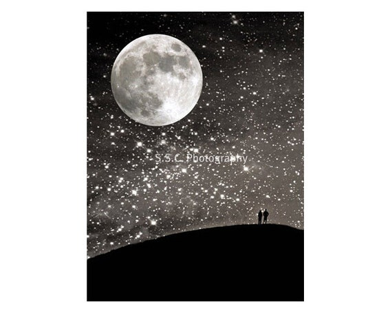 "Night Photo. starry sky. Moon art. ""Silhouettes Under the Stars""   Stars. Black. Silver. Love. romantic"
