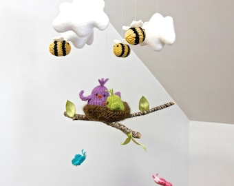 Cloud Mobile, bird mobile, butterfly mobile, bee mobile, baby mobile, nursery mobiles, crib mobile, baby mobile hanging, garden mobile, knit