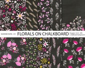 Florals on chalkboard background, flowers, Chalkboard Papers, 11 jpg files 12x12 - 673