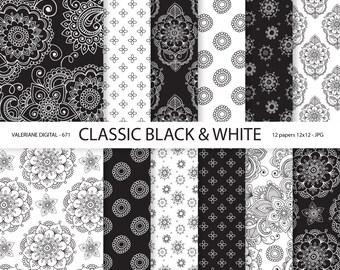 Black & White Digital paper, Mandala Black and white Digital Scrapbook Paper, classic - INSTANT DOWNLOAD - 671
