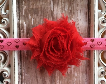 Valentine's Day Red and Pink Shabby Frayed Chiffon Flower Elastic Headband Babies Toddlers Girls