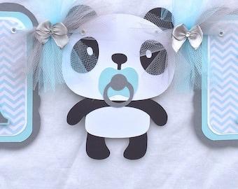 Boy panda banner, panda baby shower banner, panda banner, blue and gray decor, boy baby shower, nursery decor, party banner, table banner