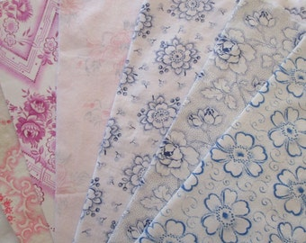 6 Pieces Vintage French Cotton Fabric Pinks and Blues Flowers Roses Rosebuds Make Your Own Patchwork Pillow Lavender Bags