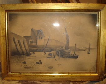 1831 Watercolor and Graphite Drawing Gilt Frame English Seascape Signed Dated