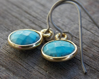 Titanium Earrings, Turquoisein Gold Vermeil on Titanium Ear Wires, December Birthstone