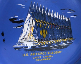 Air Force Academy, Vintage Souvenir Tray, Cadet Chapel, Blue Bar Tray, Air Force Gift