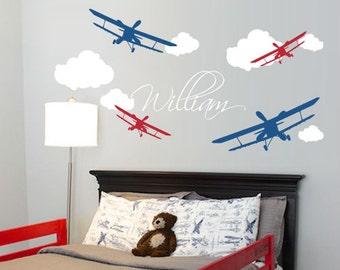Airplane with Custom Name Wall Decal