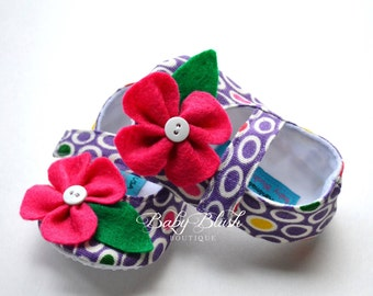 Lavender Maryjane with Pink Flower Baby Shoes