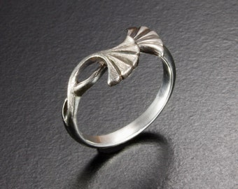 Ginkgo leaf Art Nouveau style silver ring made to your order